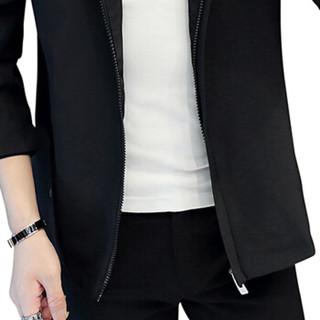 金盾(KIN DON)夹克 新款男士夹克时尚休闲百搭纯色连帽长袖夹克外套QT2021-702黑色3XL