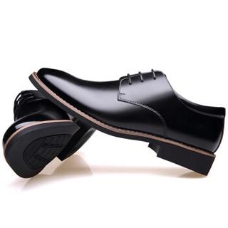 CARTELO 卡帝乐鳄鱼 时尚牛皮男士内增高商务休闲低帮系带皮鞋子男 2303 黑色 40