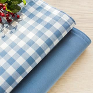 锦色华年格调春天 小格子欧式餐垫布艺隔热垫 双层学生儿童用田园布艺盘垫碗垫 蓝色小格子 30*45cm