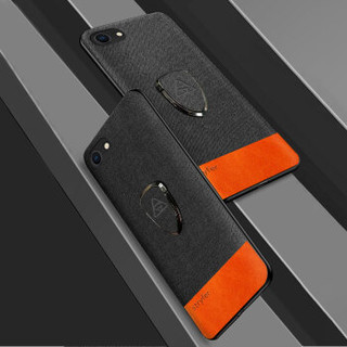 斯得弗(STRYFER)苹果7/8手机壳 全包防摔软边布纹轻奢时尚磁吸指环扣支架保护套-撞色黑