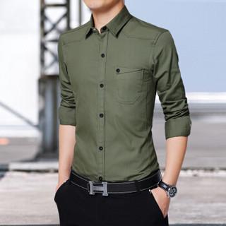 猫人(MiiOW)长袖衬衫 男士商务休闲潮流纯色百搭长袖衬衣A180-8006军绿色4XL