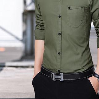 卡帝乐鳄鱼(CARTELO)衬衫 男士简约纯色商务休闲百搭修身长袖衬衣A180-8006军绿色3XL