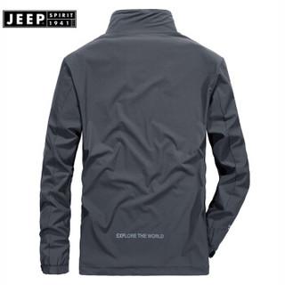 吉普(JEEP)夹克男薄款外套男装男士立领茄克衫防风衣2019春秋新品男装上衣JPL1550 蓝色 M
