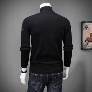 鳄鱼恤(CROCODILE)针织衫 20185秋冬新款男士时尚休闲纯色套头可翻高领羊毛衫 Q5007-8817 黑色 L