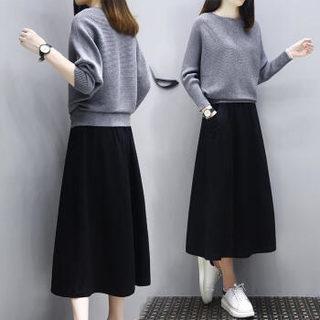AUDDE 2019春季新款女装新品连衣裙女时尚针织毛衣套装休闲宽松大码两件套卫衣长裙 zx20184 黑灰色 M