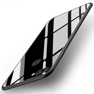 华为荣耀9i手机壳 送钢化膜 全包边玻璃防摔壳男女潮款个性款 荣耀9i保护套 玻璃后盖+硅胶软边 白色