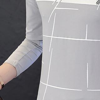 猫人(MiiOW)男士T恤时尚休闲百搭拼色V领套头长袖T恤D305-1-9830灰色L