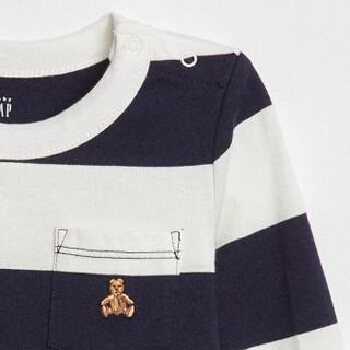 Gap旗舰店 男婴儿 布莱纳小熊刺绣棉质长袖连体衣 宝宝秋装爬服 374315 海军蓝白条纹 3-6M