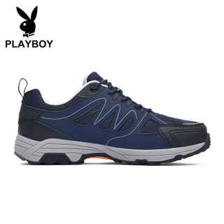 PLAYBOY 花花公子 休闲运动户外登山鞋子男低帮系带防滑 DS85205 深蓝 40