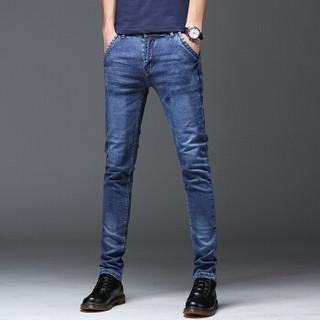 金盾(KIN DON)牛仔裤 2019新款男士青春休闲时尚百搭修身牛仔长裤QT1012-Z005蓝色33
