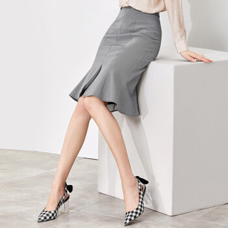 Sentubila 尚都比拉  纯色千鸟格鱼尾半裙女春季女装新品通勤OL复古优雅 183Q1921051 黑白格 XL