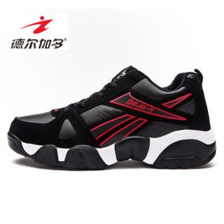 Delocrd 德尔加多 男士大码经典韩版时尚百搭运动休闲鞋子 黑红 43