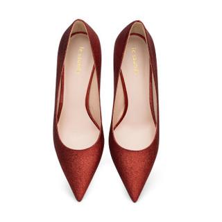 le saunda 莱尔斯丹 时尚优雅性感尖头套脚跟高跟女单鞋 LS 9T79901 红色 34