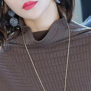 尚格帛 秋冬新品女装连衣裙女韩版修身堆堆领中长款长袖针织衫毛衣裙 LLLS030-83197GB 黑色 XL