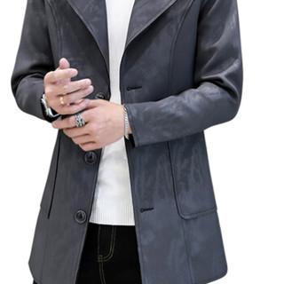猫人(MiiOW)风衣2019春季新款男士休闲时尚立领纯色中长款大衣外套401-F507深灰色5XL