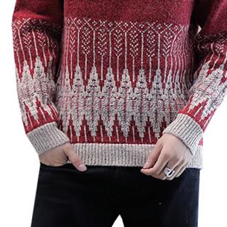 猫人(MiiOW)毛衣 男士时尚休闲潮流圆领针织长袖毛线打底衫211-1-M9189酒红M