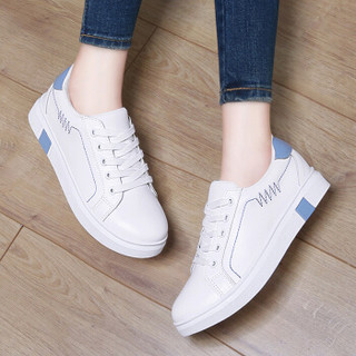 古奇天伦 女士韩版时尚百搭运动跑步休闲小白鞋 8919 白蓝色 35