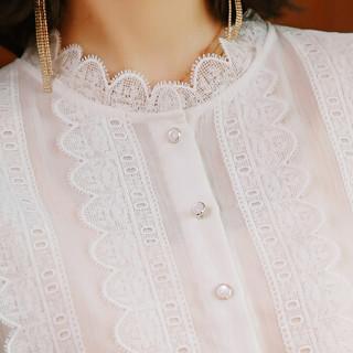 欧偲麦 雪纺衫女长袖韩版宽松秋装2018新款洋气小开衫百搭蕾丝打底衫上衣 ZY-8830260 白色 2XL