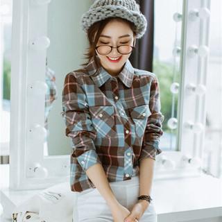 尚格帛 2018秋冬新品女装衬衫女韩版修身长袖加绒加厚保暖打底衬衫 LLGY2GB 2108M