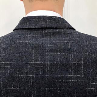 雅鹿 西服套装男2018秋冬新款男士商务正装聚会婚礼西服套装 CG-1668 黑灰(两件套) XL外套+33西裤