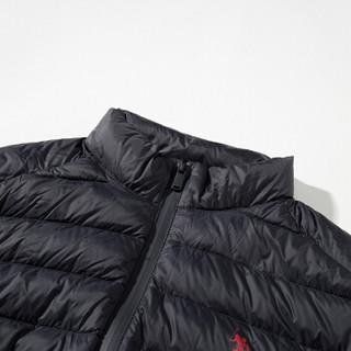 U.S. POLO ASSN. 男羽绒服 短款立领修身保暖纯色薄款外套美式休闲轻薄羽绒服 AYRMD-58515 黑色 2XL/185