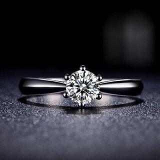 花好玉缘 六爪皇冠 白18k金钻戒女 结婚求婚钻石戒指 情侣对戒女款 生日礼物 11号