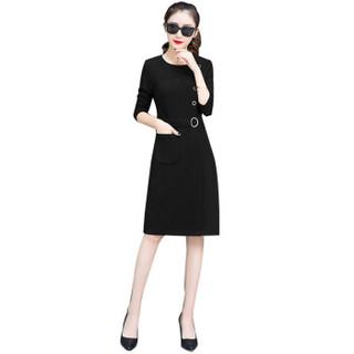 liqiao 丽乔  春夏新款女装新品连衣裙女长袖气质中长款有女人味的裙子 zx5303-225 黑色(加绒) L