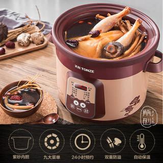 天际(TONZE)电炖锅 电炖盅紫砂锅煮粥煲汤锅电砂锅 DGD50-50ZWD 5L