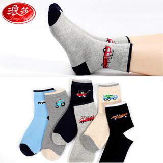 浪莎儿童袜子男童四季棉袜亲肤透气大童运动学生中筒袜 可爱小车 脚长22-24cm 10岁以上 36-40码