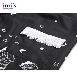 imis爱美丽 卡通印花圆领短袖蕾丝花边舒适睡裙女 黑色 160/85/M
