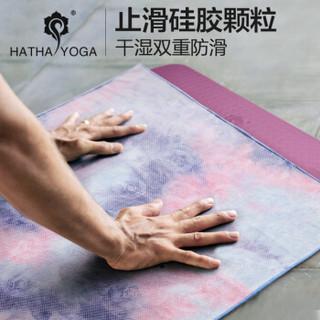 哈他瑜伽铺巾硅胶颗粒防滑正品瑜伽垫毯子加厚运动沙滩巾印花健身吸汗毛巾