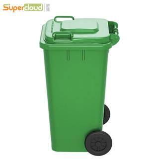 舒蔻(Supercloud)加厚物业小区公用室外环保分类塑料带盖翻盖环卫户外垃圾桶酒店 大号商用绿色带轮100L