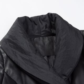 pierre cardin 皮尔·卡丹 女士绵羊皮V领中长款A字摆时尚休闲羽绒服 23P1385