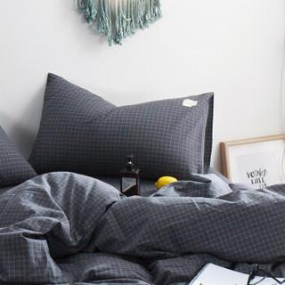 北极绒 纯棉枕套 全棉枕头套色织水洗棉单只 全包枕芯枕巾枕头罩 小灰格 48*74cm