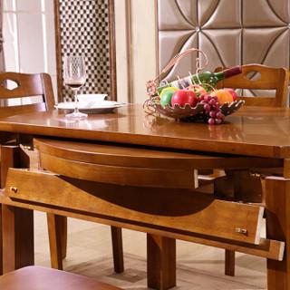 奈高实木餐桌椅组合简约现代两用可伸缩折叠圆桌多功能饭桌1桌4椅胡桃色