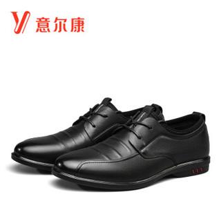 YEARCON 意尔康 男士圆头系带休闲韩版舒适百搭单皮鞋子 9142ZR97383W 黑色 40