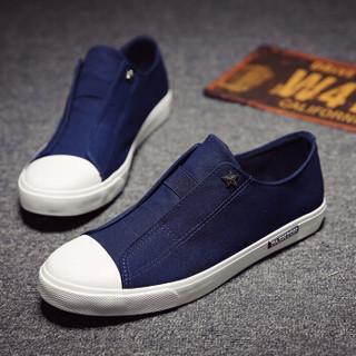 高尔普(GOLDPOOL) 时尚简约套脚休闲帆布鞋男 18108GEP61302 蓝色 44
