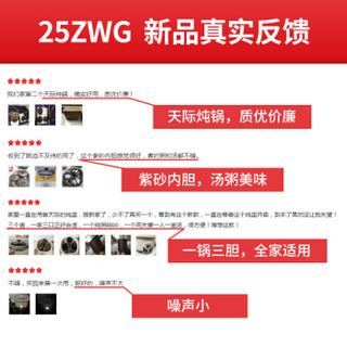 天际(TONZE)电炖锅 电炖盅 紫砂锅电砂锅 煮粥煲汤锅隔水炖1锅4胆DGD25-25ZWG 2.5L