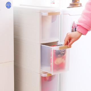 和匠 Worldlife 塑料夹缝柜儿童衣柜收纳盒五斗柜储物柜 整理收纳箱抽屉式带滚轮窄柜四层收纳柜 米色 S-1121