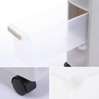 和匠Worldlife 塑料夹缝柜儿童衣柜收纳盒五斗柜储物柜 整理收纳箱抽屉式带滚轮窄柜两层收纳柜 米色 S-1123