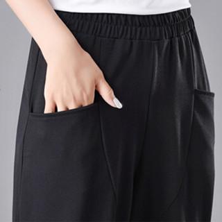 丝柏舍2019春季新款女韩版纯色宽松带口袋哈伦气质七分萝卜休闲裤S91R0114KA10L  黑色 L