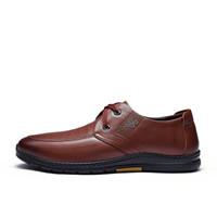 Fuguiniao 富贵鸟 男士时尚休闲鞋头层牛皮系带时尚舒适 S993715  棕色  39