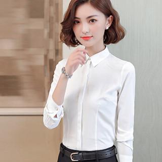 初申 2019春季新款修身长袖衬衫白女职业正装衬衣通勤打底衫SWCC191123 长袖衬衫 M