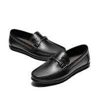 J.Benato 宾度 男士透气休闲软底套脚头层牛皮爸爸鞋 7N381 黑色 38