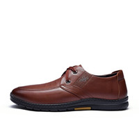 Fuguiniao 富贵鸟 男士时尚休闲鞋头层牛皮系带时尚舒适 S993715  棕色  44