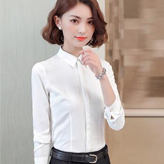 初申 2019春季新款修身长袖衬衫白女职业正装衬衣通勤打底衫SWCC191123 长袖衬衫 XL