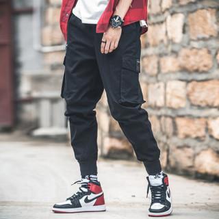 卡帝乐鳄鱼(CARTELO)休闲裤男2019年春季新款韩版潮流工装束脚宽松哈伦裤子 黑色 5XL