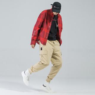 富贵鸟(FUGUINIAO)工装裤2019春季新款潮牌束脚裤嘻哈宽松hiphop小脚裤子 卡其 2XL