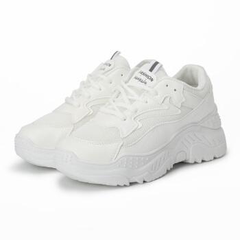 玫蒂莎 青春运动韩版原宿百搭休闲厚底时尚老爹小白鞋 F1611 白色 35