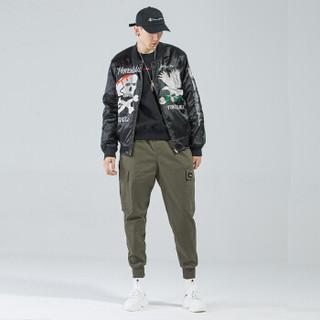 富贵鸟(FUGUINIAO)工装裤2019春季新款潮牌束脚裤嘻哈宽松hiphop小脚裤子 军绿 5XL